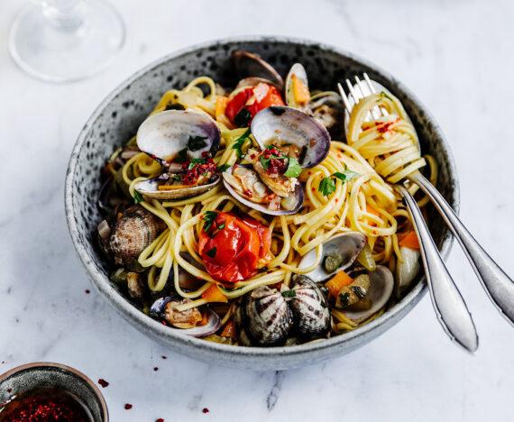 FINESSE, Gourmet, Food, Magazin, Rezepte, Fisch, Apfelglück, Muscheln, Cidersud, Linguine